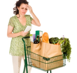 Shopper with list and cart, scratching her head